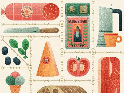 Viva Italia! wine food pattern poster italian vintage retro flat graphic vector texture illustration