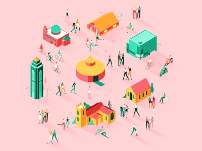 Communities publication gradients isometric editorial flat graphic character vector illustration