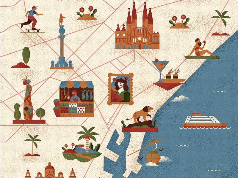 Past to Present barcelona maps travel icon retro vintage drawing graphic character vector texture illustration