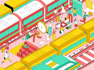 You're Late! trains characterdesign running perspective isometric train station design graphic character vector illustration