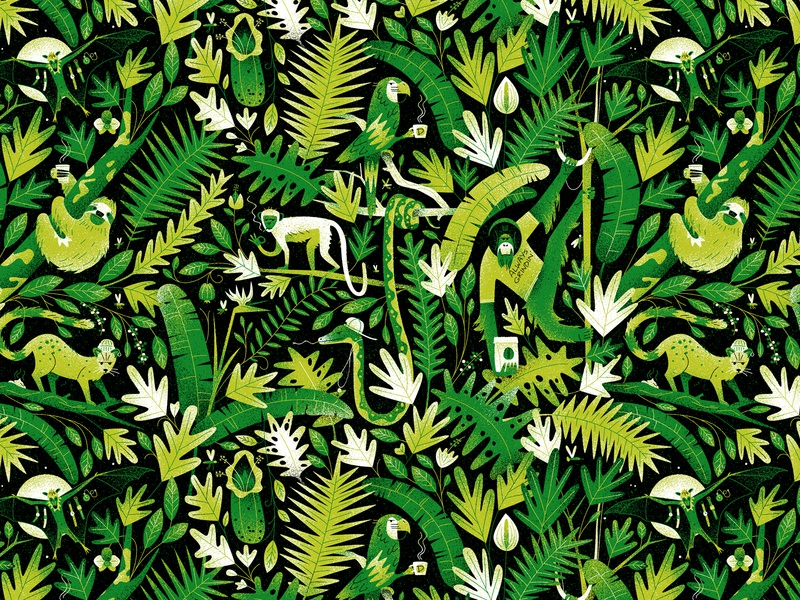 Jungle Massive! wallpaper plants coffee animals jungle typography vintage drawing graphic character texture illustration