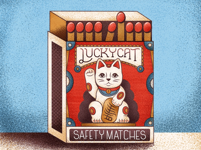Lucky Cat Strikes Again japanese wealth matches luckycat vintage retro drawing graphic character vector texture illustration