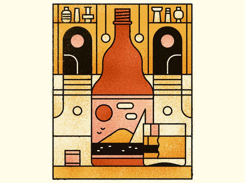 In Dreams scenic pattern symmetry drinks dreams vintage retro flat graphic vector texture illustration