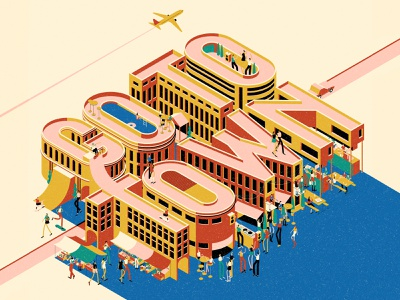 Where to Next? party city travel isometric typography editorial vintage graphic character texture vector illustration
