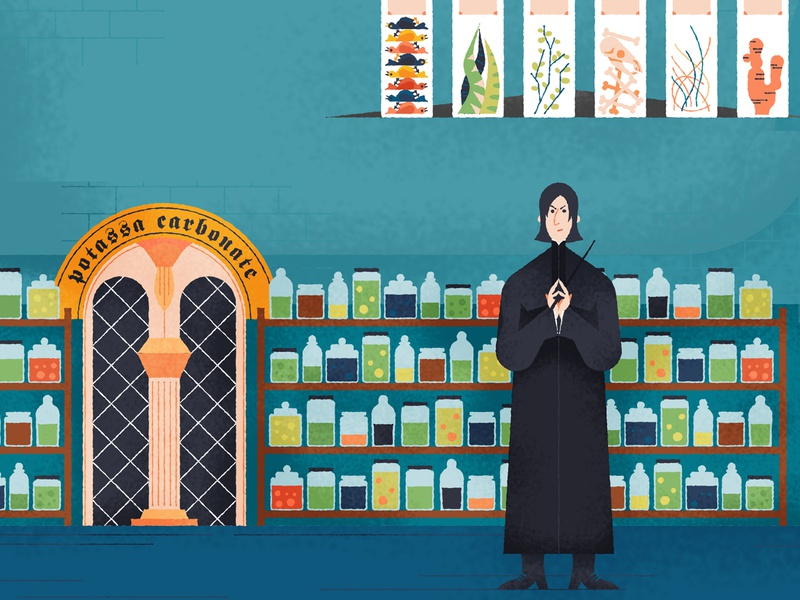 Exploring Hogwarts explore drawings potions wizardry hogwarts harrypotter design editorial drawing character vector texture illustration