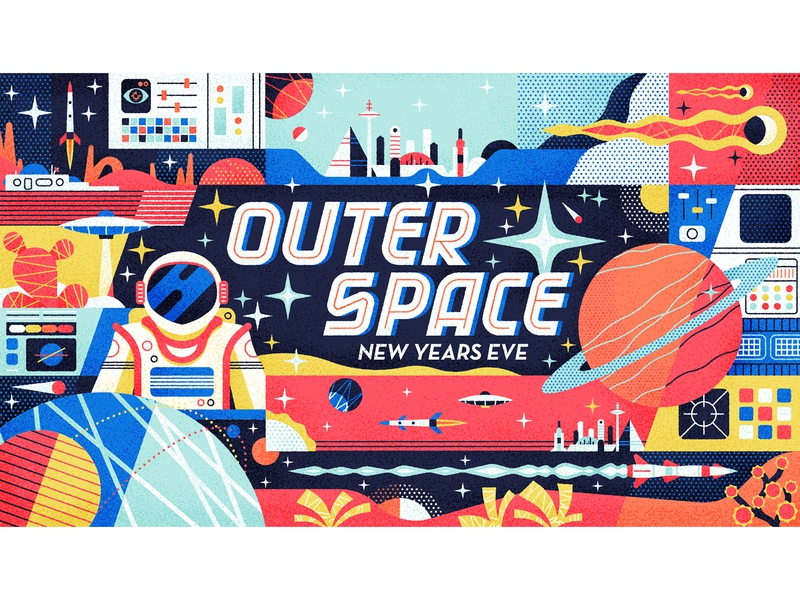 Outer Space new years eve galaxy astronaut outerspace space drawing graphic character vector texture illustration