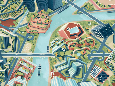 Future Cities automation aerial view smart cities future animation cities drawing graphic texture vector illustration