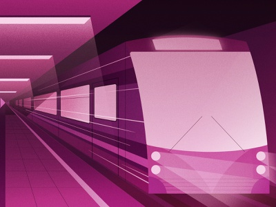 Midnight Express gradients 1 point subway underground train travel perspective drawing graphic vector texture illustration