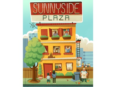 Sunnyside Plaza apartments bookcover city building novel typography editorial drawing graphic character texture illustration