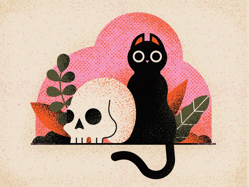 Things are starting to get a little creepy... blackcat skull cat halloween retro vintage drawing graphic character vector texture illustration