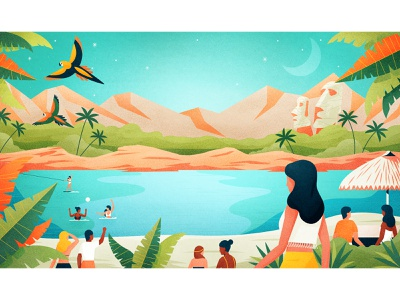 Paradise Beach paradise pool party summer beach pool gradients design drawing graphic character vector texture illustration