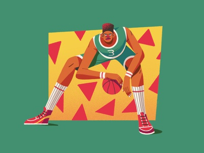 Baller baller memphis style basketball player basketball characterdesign characters retro drawing graphic character texture illustration