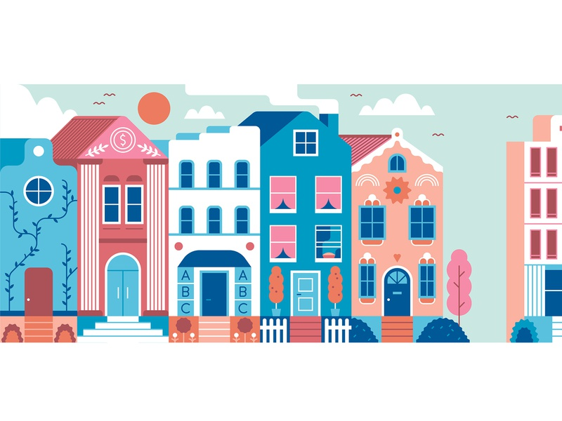 Astrology Houses buildings perspective star sign homes houses astrology city design editorial flat graphic vector illustration