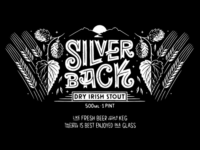 Silver Back blackandwhite handlettering lettering graphicdesign packaging labeldesign branding typography retro drawing graphic vector texture illustration