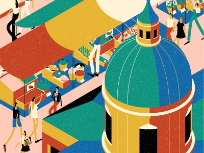 Palermo scenes city bright characterdesign food market isometric perspective drawing graphic character vector texture illustration