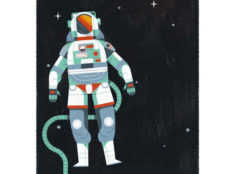 Atlas of Space Adventures astronaut apollo11 galaxy space design editorial retro drawing graphic character vector texture illustration