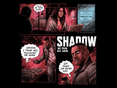 Shadow storyboard comic art halftones panels series netflix comicbooks typography design editorial retro graphic character texture illustration