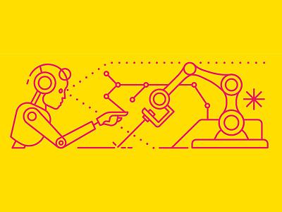 Future World robotics ai robots linework monoline businesscard identity branding ui icon design editorial flat drawing graphic character vector illustration