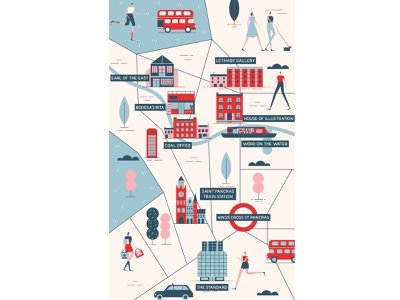 Les Echos london underground characterdesign travel shopping location london maps icon design typography editorial flat graphic character vector illustration