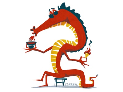 Fiery Tomato Soup! food grilled cheese fire tomato soup dragon characterdesign design retro drawing graphic character texture illustration