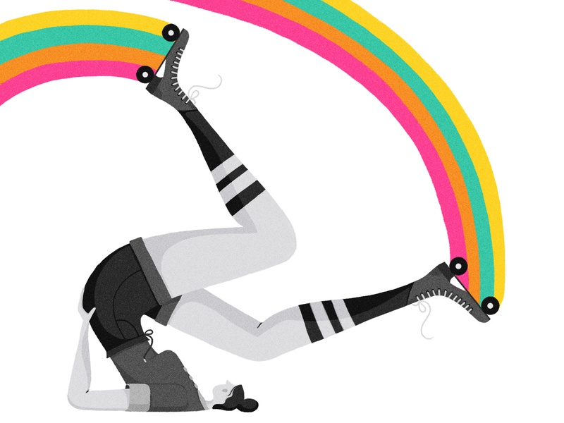 Life in Technicolor retro black and white roller skate girl rainbow characterdesign vintage drawing graphic character vector texture illustration
