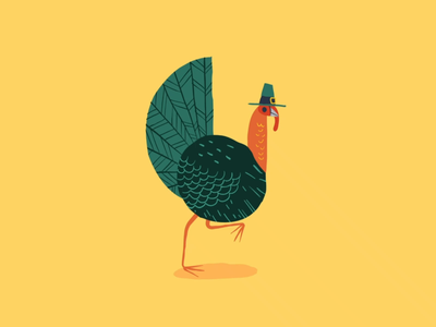 Gobble Gobble motiondesign gift loop animation 2d festive holiday characterdesign turkey thanksgiving drawing graphic character texture illustration