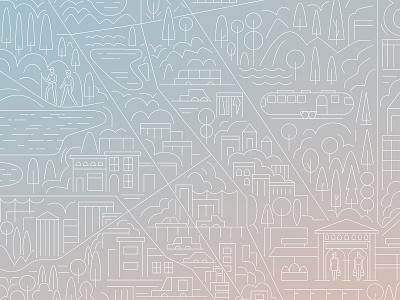 Detroit Magazine characterdesign transport pattern parks detroit city linework monoline design editorial drawing graphic character vector illustration