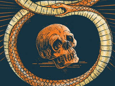 POSTed ouroboros snake social injustice skull digital painting design typography retro drawing graphic character texture illustration