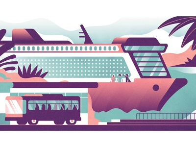 Which? Magazine ocean linear ocean holiday trips bus travel cruise boat ships perspective gradient editorial vintage retro graphic character vector texture illustration