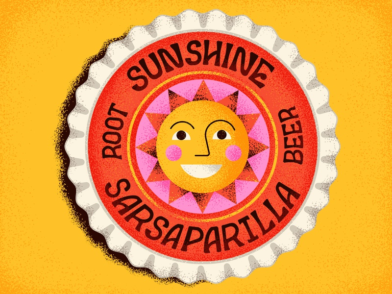 Sunshine Soda root beer summer bottle cap packaging soda sun lettering typography vintage retro drawing graphic character vector texture illustration