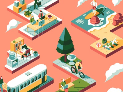Digital Nomad travel tram office perspective isometric illustration working nomad beach park isomtric design editorial graphic character vector texture illustration