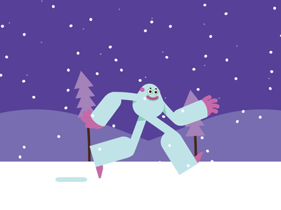 'Tis the Season run cycle snowing vacation holidays winter yeti aftereffects character design animated gif loop animation flat graphic character vector illustration