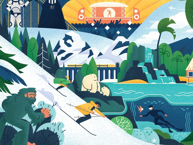 50 Reasons To Travel collage flat waterfall snow texture vector bigfoot scuba ski