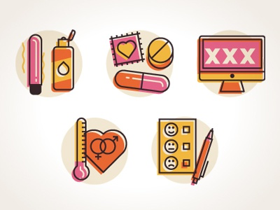 Sex icons icons sex pills lube vibrator computer heart