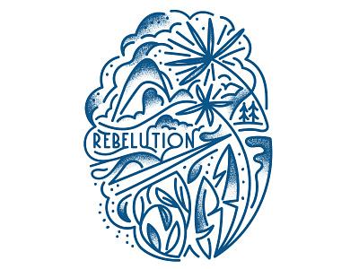 Rebelution t-shirt illustration plants scene palm monoline lineart texture vector t-shirt