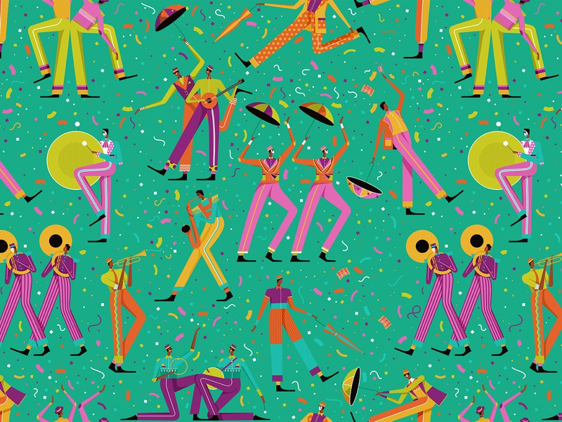 Cape Town Minstrels confetti musicians summer 2020 newyears celebration instruments dancing pattern design graphic character vector illustration