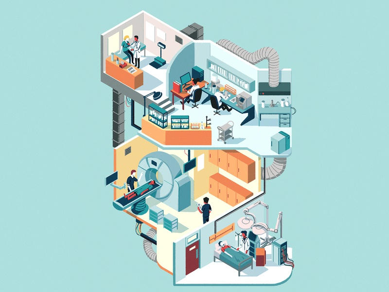 Annual Check-Up perspective patient hospital doctors medical characters isometric editorial drawing graphic character illustration