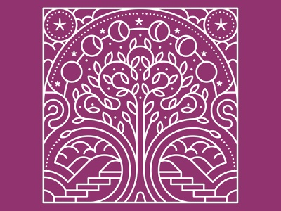 Tree of Life stars clouds moon cycle moon stamp tree monolinear linework monoline editorial flat graphic vector illustration
