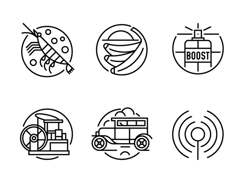 GQ Magazine car vintage banana shrimp linework black and white iconset monoline iconography icons ui design editorial graphic vector illustration