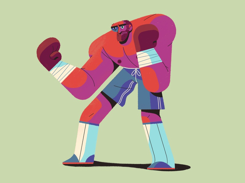 Ready to Rumble! simple blue eye boxing glove boxer sports boxing characterdesign retro drawing graphic character texture illustration