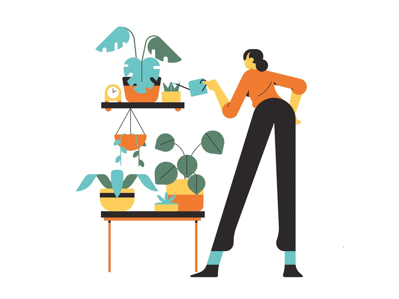 Urban Jungle characterdesign jungle simple foliage plants lady woman editorial graphic character vector illustration