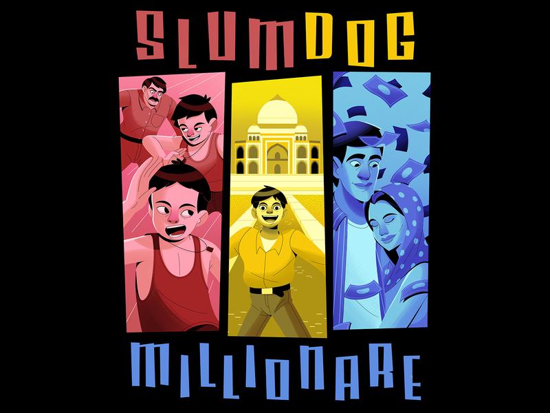 BEST PICTURE slumdogmillionare exhibition movie poster lettering typogaphy posterdesign movie characterdesign design graphic character illustration