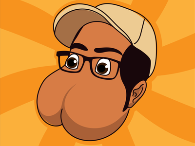 Buttface 2000 design character vector illustration