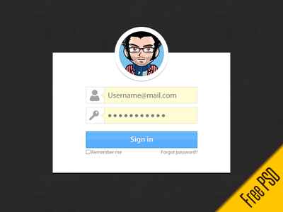 PSD Freebie:Simple sign in form. psd freebie free download form login sign in avatar password button simple