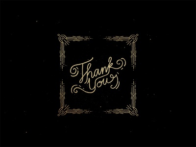Thank You line lettering border frame typography
