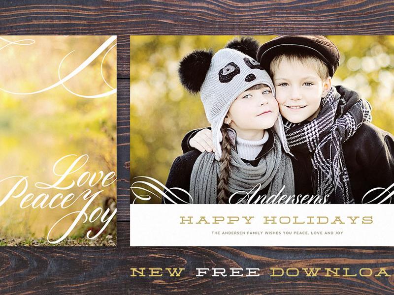free psd download: holiday photo/marketing card template  free psd download holiday card swirl photography minimal