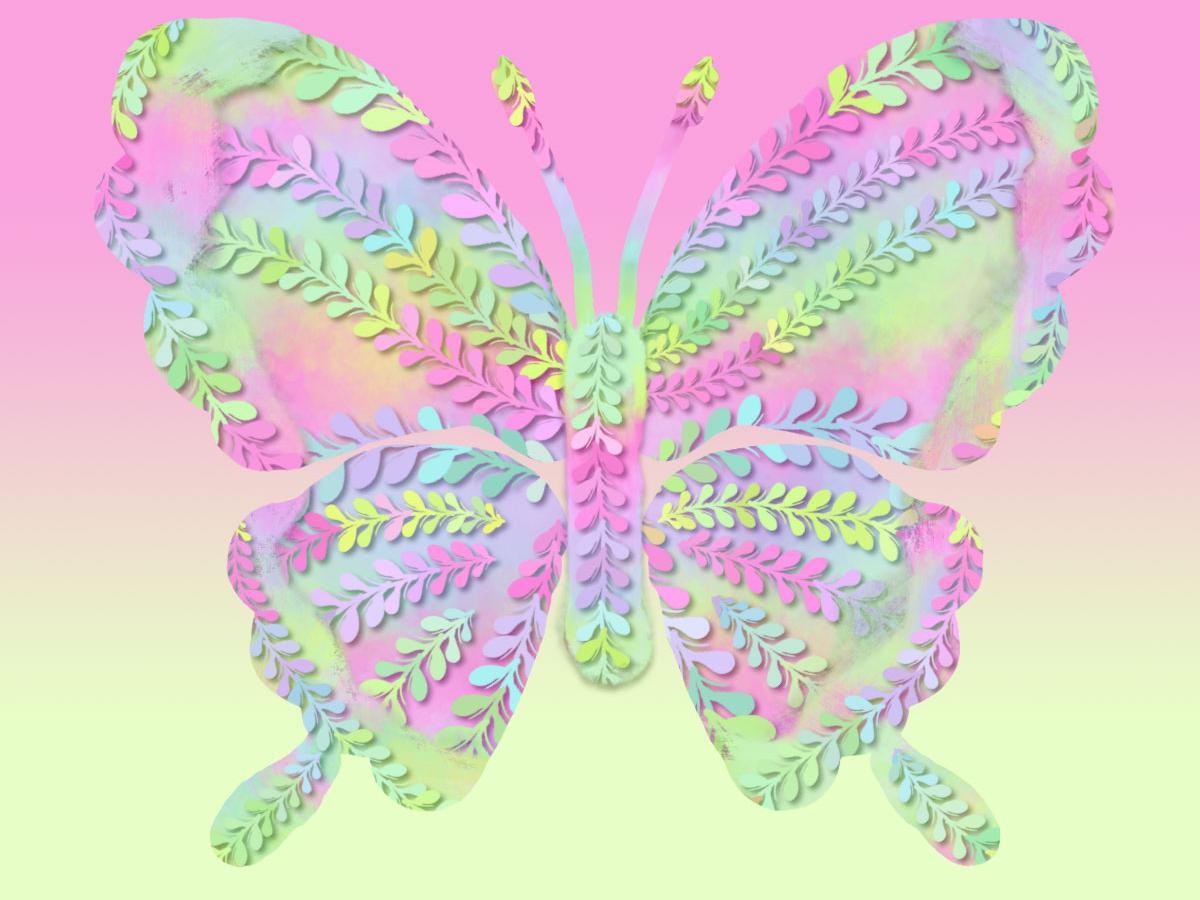 pastel neon butterfly illustration pastel neon butterfly