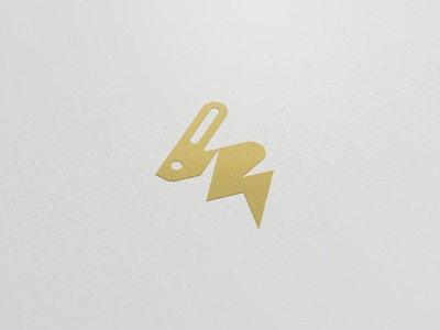 Volt Rabbit Gold Mark rabbit hop drink mark gold electric flash minimal style logo desig radek blaska oski