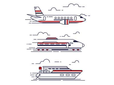 Air-Sea-Land  air land sea plane train boat