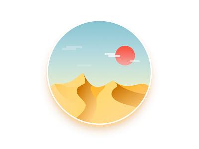 Desert cloud sun illustration desert